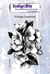 Vintage Dogwood A6 Red Rubber Stamp